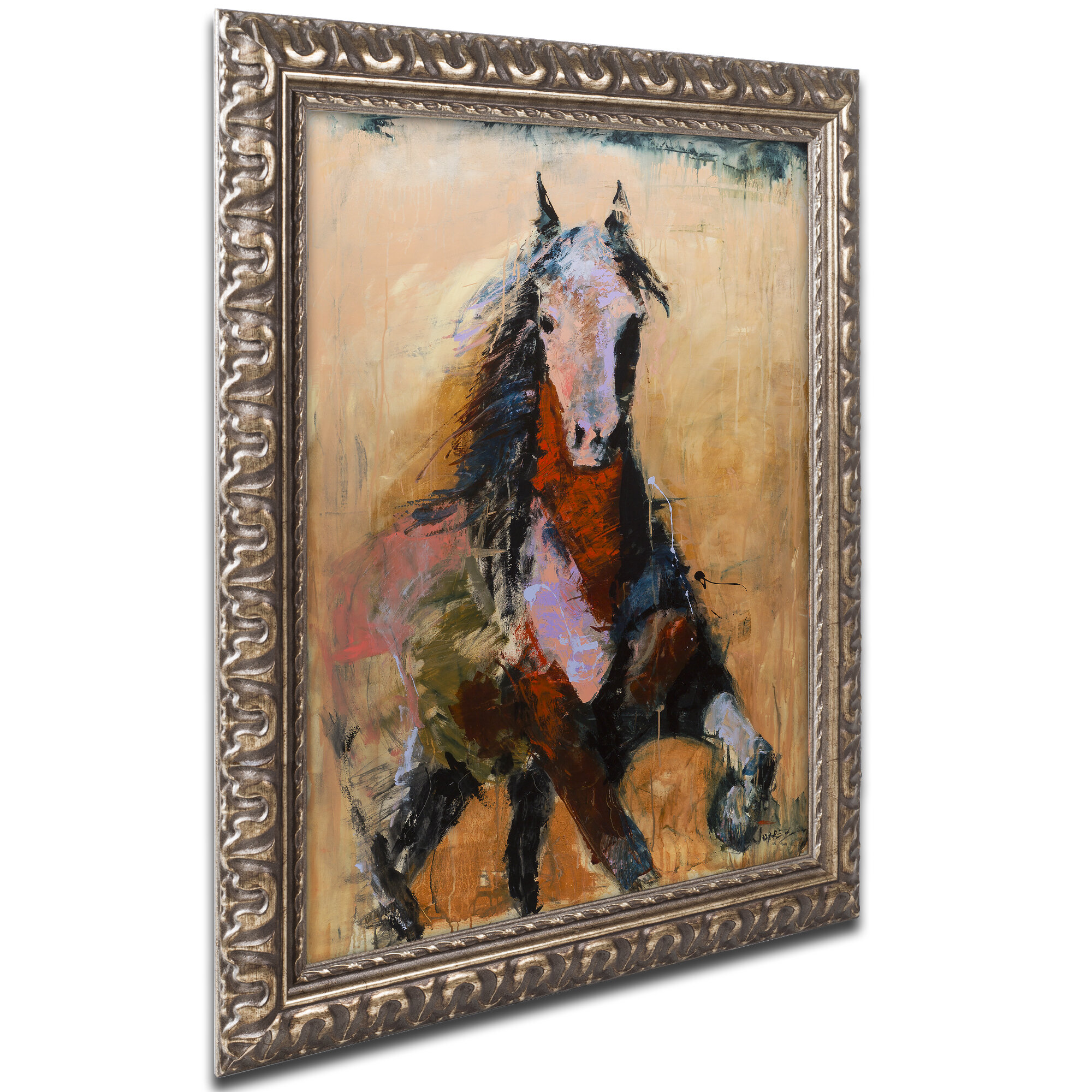 Trademark Art Golden Horse Framed Graphic Art On Canvas