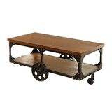 Abernathy Wheel Coffee Table with Storage by 17 Stories
