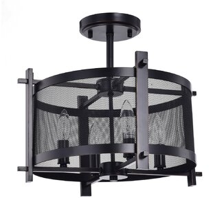Boudreaux Metal Mesh 4-Light Semi Flush Mount by Williston Forge