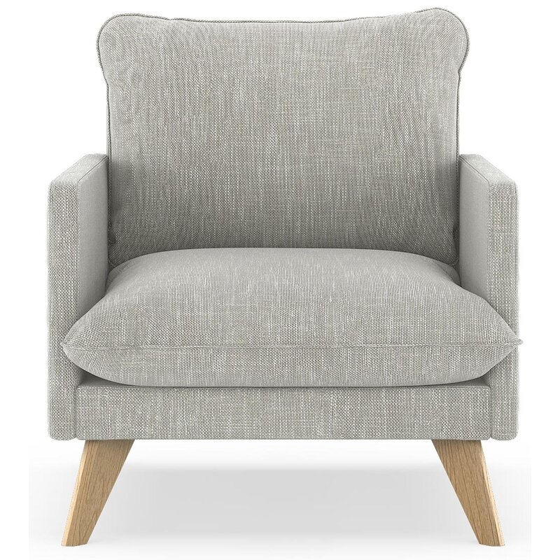 17 Stories  Dillingham Armchair Upholstery: Cloud Gray, Finish: Natural