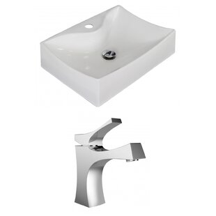 American Imaginations Ceramic Rectangular Vessel Bathroom Sink with Faucet