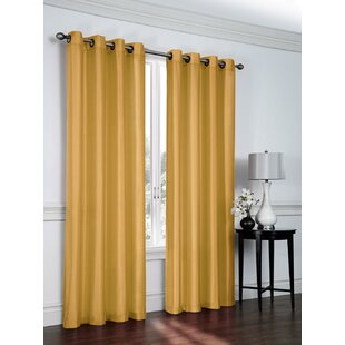 Belterra Faux Silk Semi Sheer Grommet Curtain Panels Set Of 2