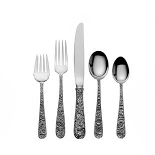 Sterling Silver Repousse 46 Piece Flatware Set- Service for 8 Best Price
