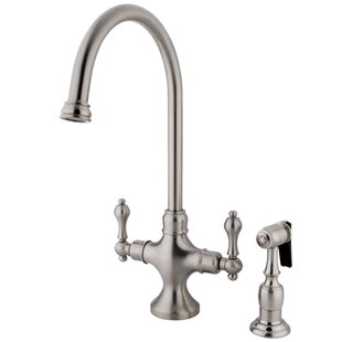 Elements of Design Classic Double Handle Single Hole Kitchen Faucet with Metal Lever Handles and Brass Side Spray