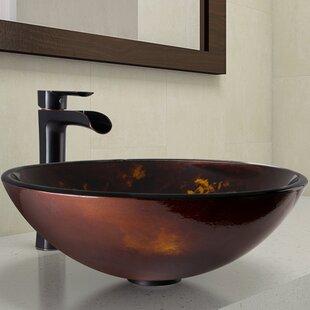 VIGO Tempered Glass Circular Vessel Bathroom Sink with Faucet