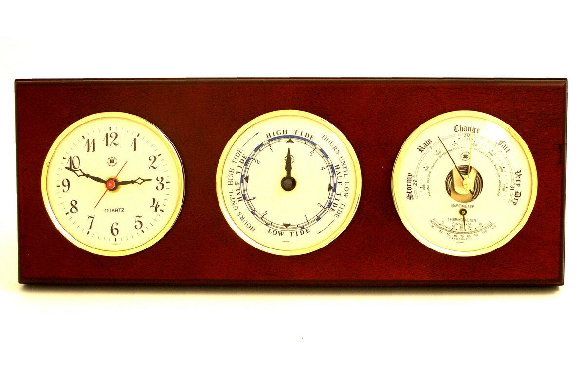 Bey berk time tide wall clock with barometer and thermometer time tide wall clock with barometer and thermometer amipublicfo Images