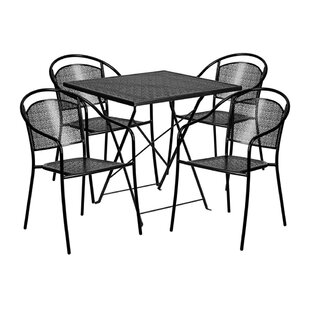 Indira Outdoor Steel 5 Piece Dining Set b..