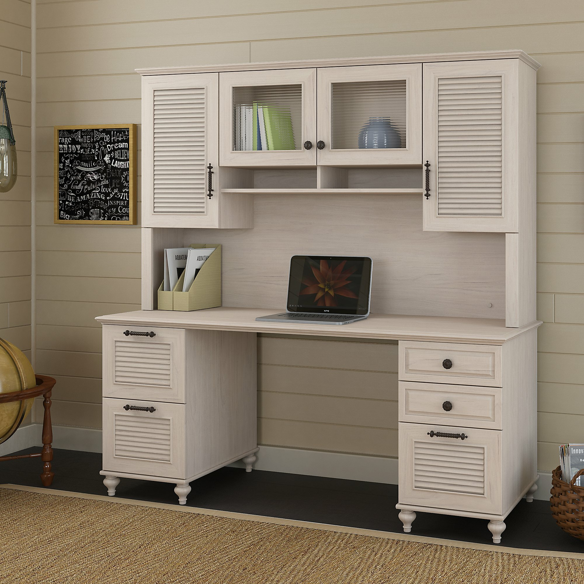 kathy ireland Home by Bush Furniture Volcano Dusk Lateral File Cabinet in Driftwood Dreams