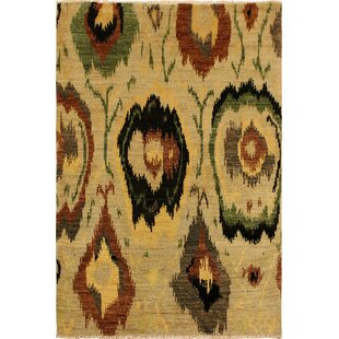 Compare One-of-a-Kind Abel Hand Knotted Wool Tan/Black Area Rug By Isabelline