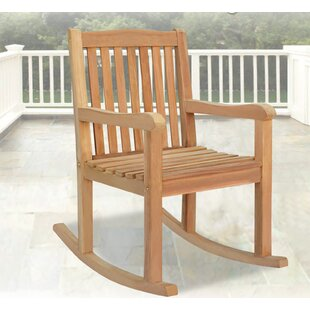 Alcott Hill Nala Outdoor Porch Teak Rocking Chair