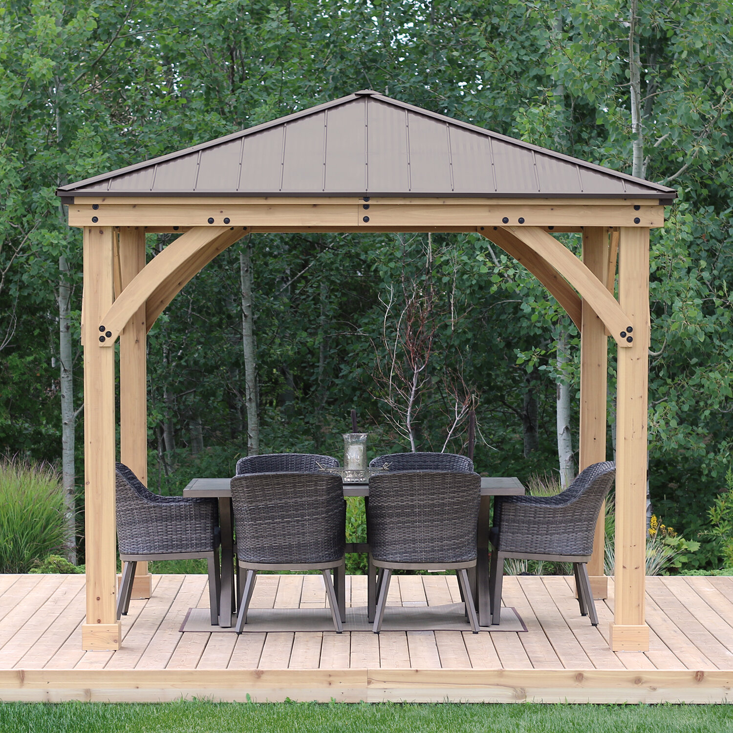 10 Ft D Solid Wood Patio Gazebo