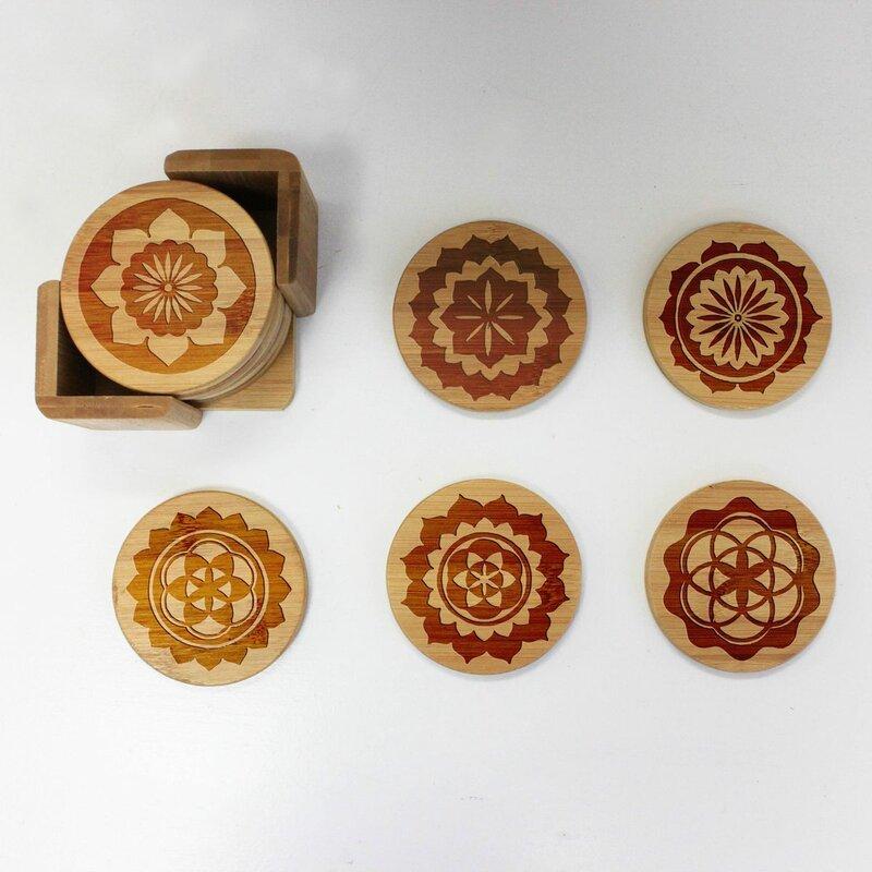Dakota Fields Custom Engraved Coaster Set With Holder