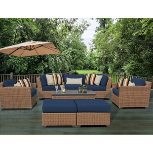Rosecliff Heights East Village 8 Piece Rattan Sofa Set with Cushions