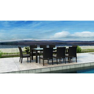Glendale 9 Piece Dining Set with Sunbrella Cushion by Everly Quinn