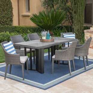 Moshier Outdoor 7 Piece Dining Set with Cushions