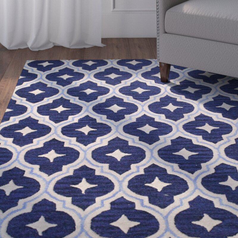 Miranda Blue Geometric Wool Hand Tufted Area Rug