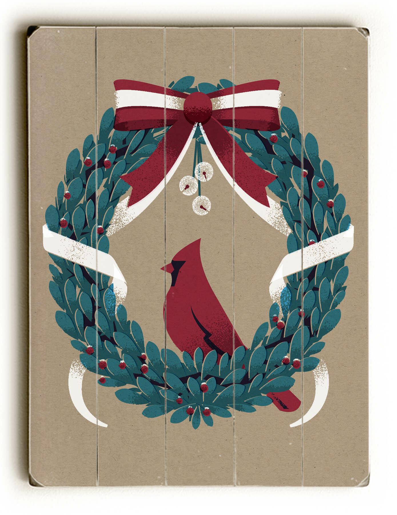 The Holiday Aisle Vintage Wreath Graphic Art Plaque Wayfair