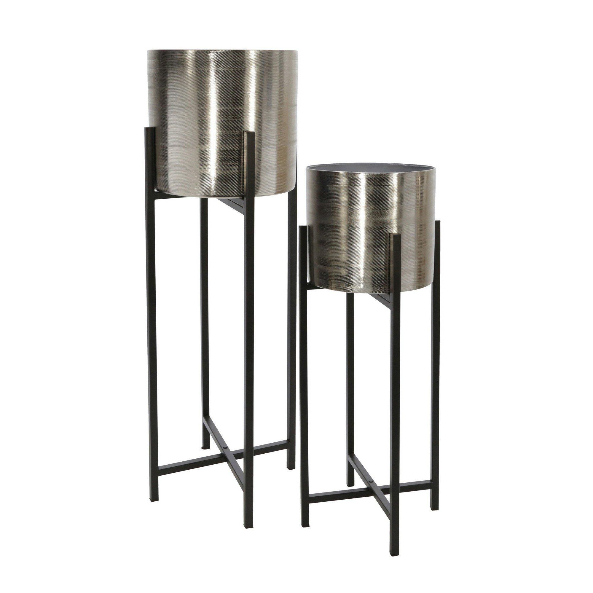 Everly Quinn Moshe 2 Piece Metal Pot Planter Set Wayfair