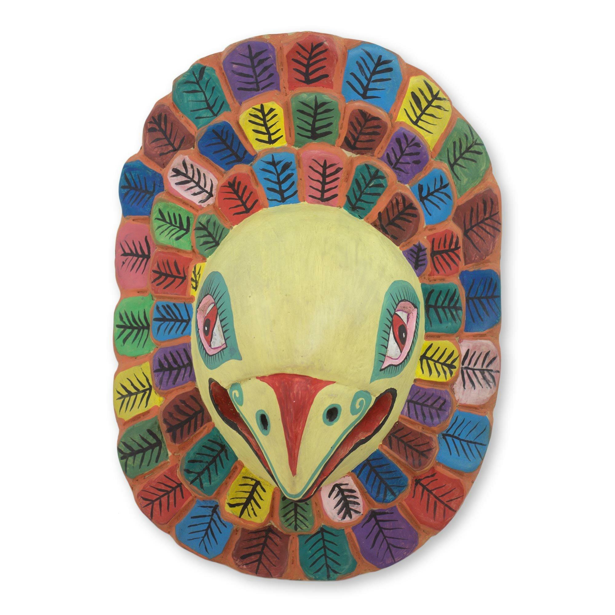 Novica Guacamaya Hand Carved Pinewood Macaw Mask Wall Décor | Wayfair