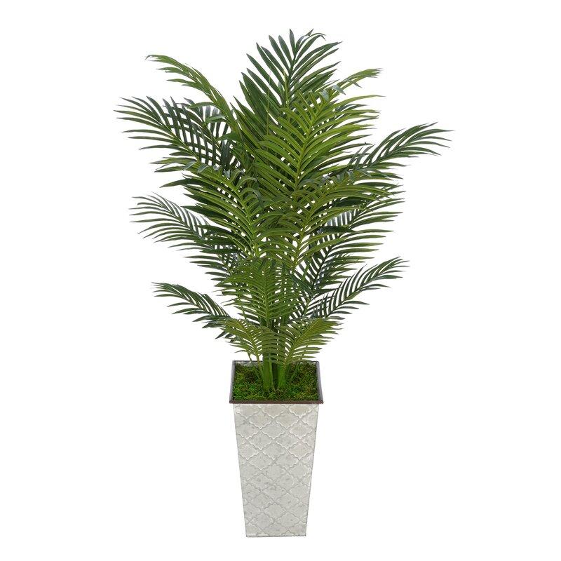 Bay Isle Home Artificial Floor Areca Palm Tree In Decorative Vase Wayfair