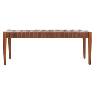 Find Albanese Weave Leather Bench ByBungalow Rose