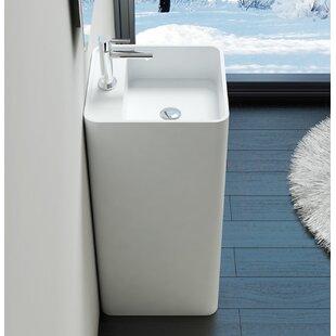 Compare prices Polymarble 17 Pedestal Bathroom Sink By Badeloft