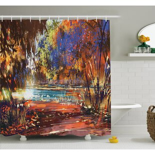 Refreshing Nature Painting at Serene Pond Illusionary Perspective Swamp Shower Curtain Set