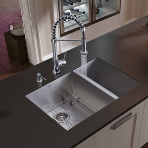VIGO 29 inch Undermount 70/30 Double Bowl 16 Gauge Stainless Steel Kitchen Sink with Edison Chrome Faucet, Two Grids, Two ...