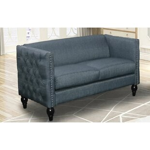 Arndt Tufted Contemporary Nailhead Blue Loveseat by Canora Grey