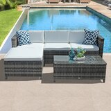 Akseli 5 Piece Rattan Sectional Seating Group with Cushions by Latitude Run®