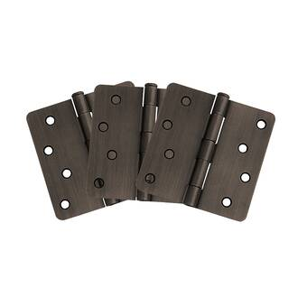 Global Door Controls 3 in Set of 2 Satin Brass Plain Bearing Steel Hinge with 1//4 in x 3 in Radius