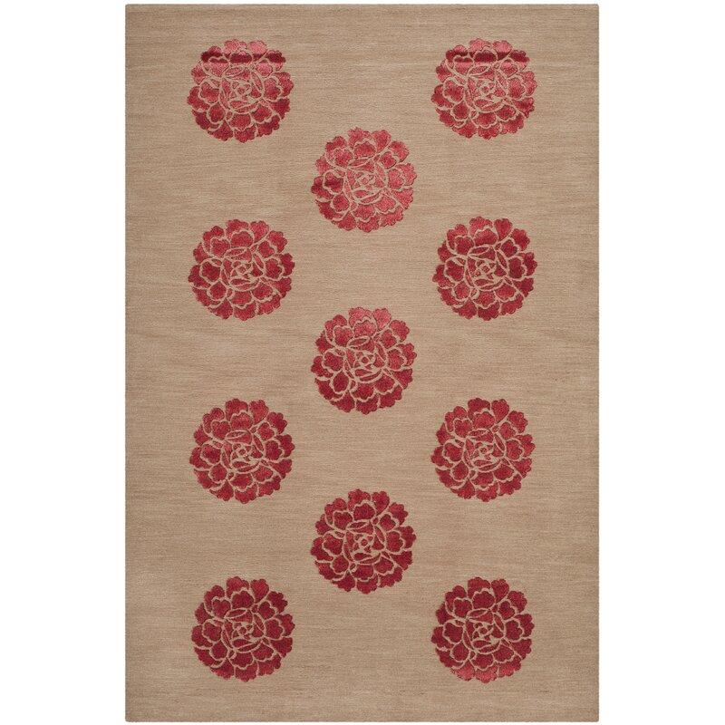 Martha Stewart Rugs Martha Stewart Medallions Floral Hand Knotted Wool Silk Red Beige Area Rug Wayfair