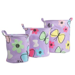 Eden Butterfly Fabric 3 Piece Storage Bin Set by Viv + Rae