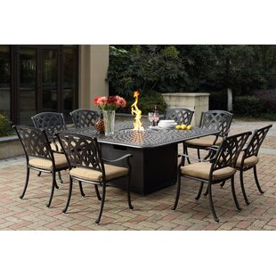 Campton 9 Piece Dining Set with Firepit and Cushion by Fleur De Lis Living
