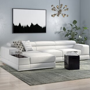 Shop Cana Leather Reclining Sectional by Orren Ellis