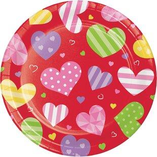 Hollandale Hearts Paper Disposable Dessert Plate (Set of 24)