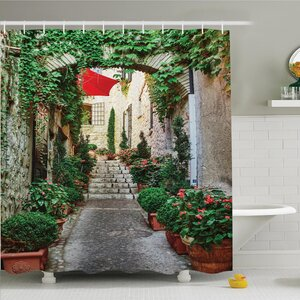 Rustic Old Street with Flowers Shower Curtain Set