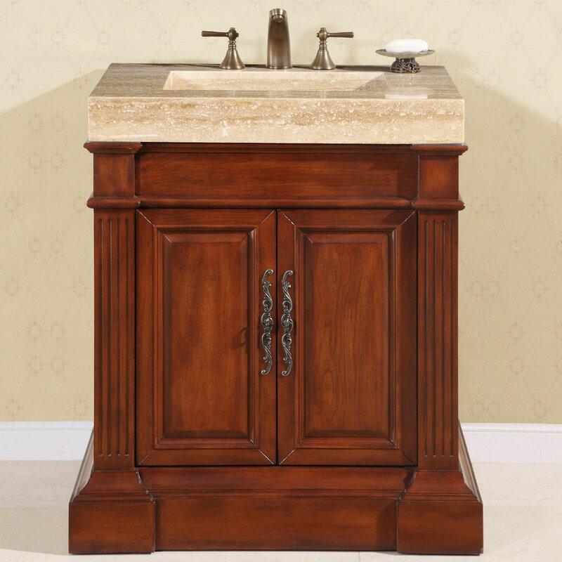 Stanton 33  Single Bathroom Vanity SetSilkroad Exclusive Stanton 33  Single Bathroom Vanity Set  . Silkroad Exclusive Travertine Stone Top 29 Inch Bathroom Vanity. Home Design Ideas