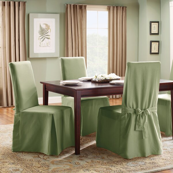 sure fit cotton duck full length dining room chair slipcover u0026 reviews wayfair