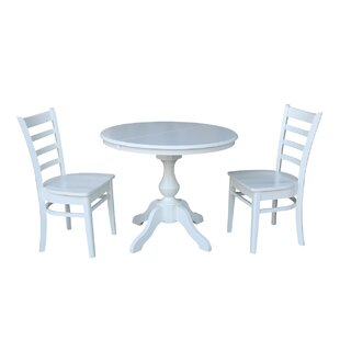 Kaila Extension 3 Piece Solid Wood Dining Set August Grove