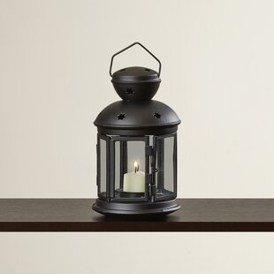 Iron and Glass Lantern with Black Finish