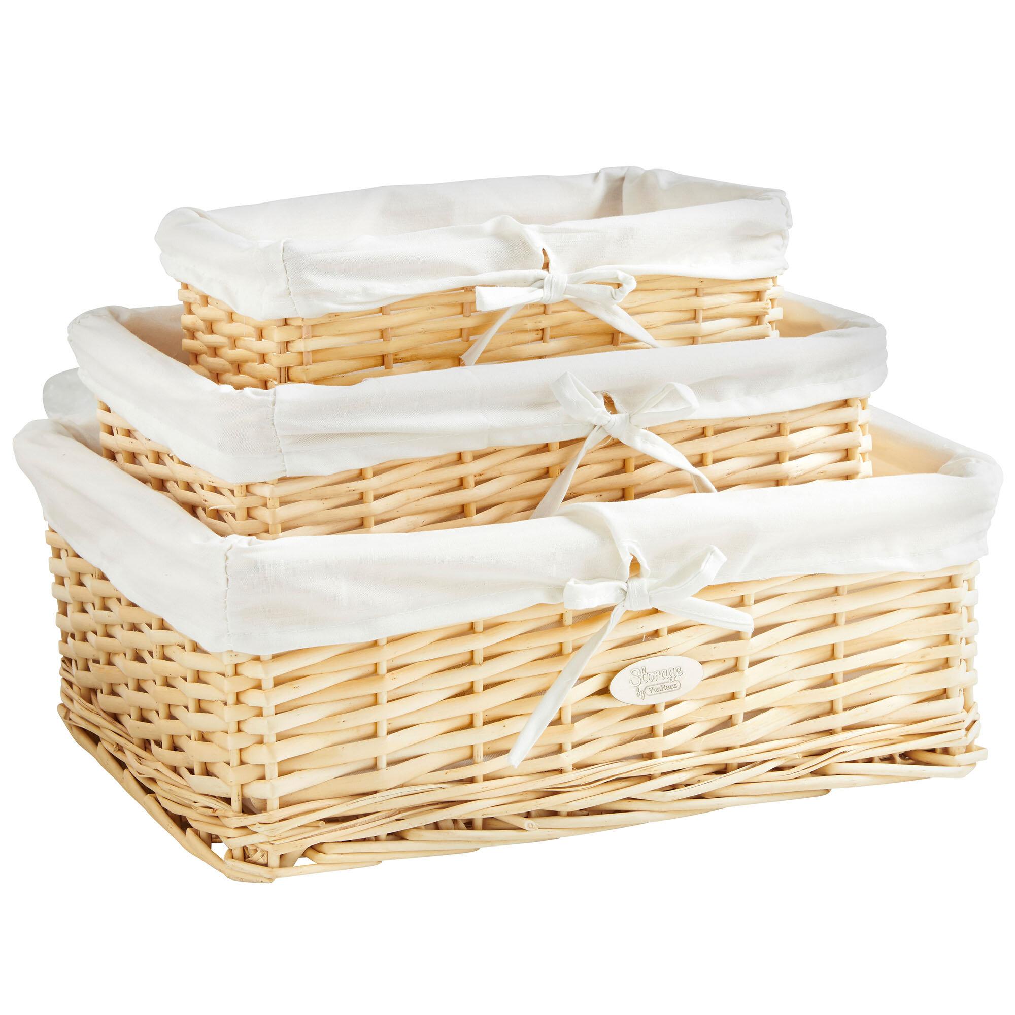 VonHaus 3 Piece Wicker Basket Set & Reviews | Wayfair