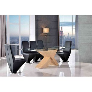 Ediz   Glass Dining Set With 4 Chairs By Ebern Designs