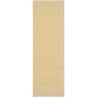 Short Yellow/Beige Indoor/Outdoor Rug