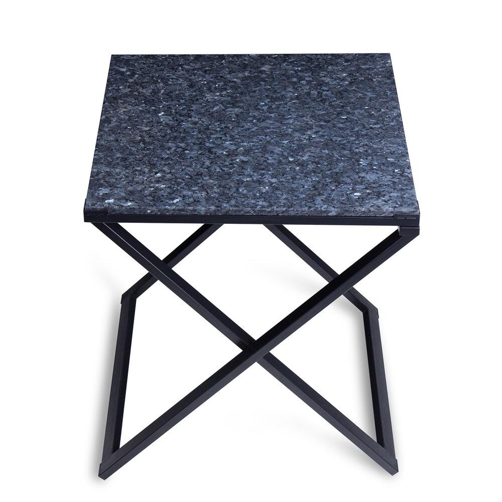 Latitude Run Rhodell Granite Top Metal Frame End Table Wayfair Ca