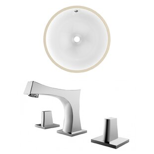 High-End Ceramic Circular Undermount Bathroom Sink with Faucet and Overflow By American Imaginations
