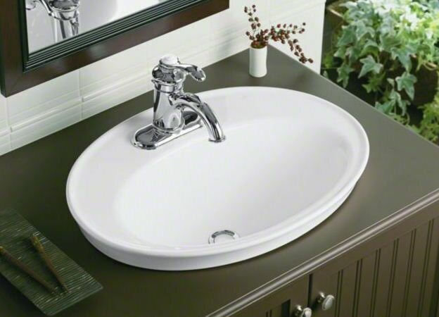 Serif Ceramic Oval Drop In Bathroom Sink With Overflow