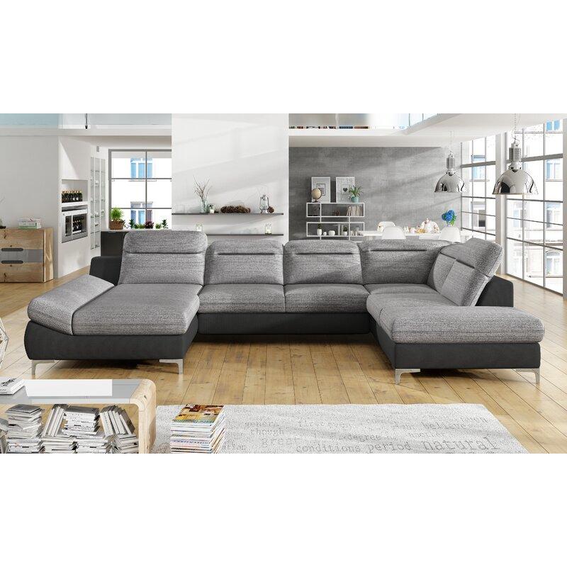 Orren Ellis Deloera 137 Wide Faux Leather Sleeper Large Sectional Wayfair