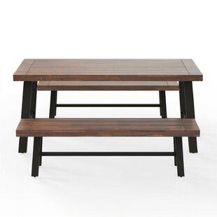 Oddger 3 Piece Solid Wood Dining Set