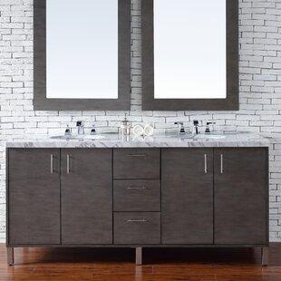 Cordie 72 Double Silver Oak Granite Top Bathroom Vanity Set by Orren Ellis